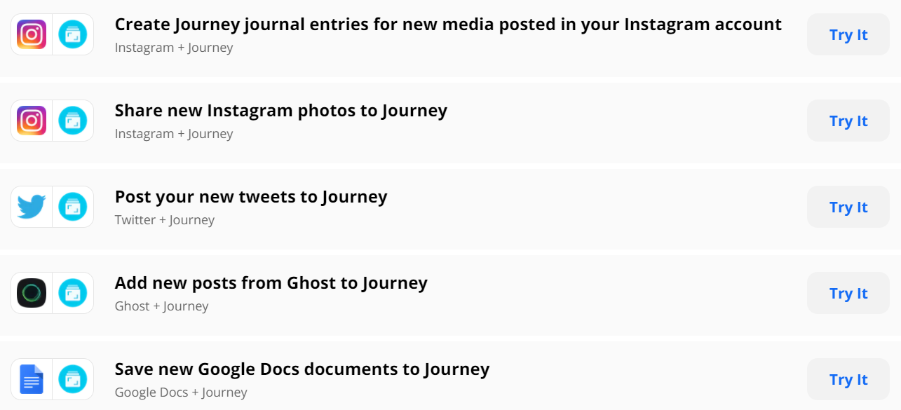 A list of apps you can connect Journey to with Zapier, including Instagram, Twitter, Ghost and Google Docs