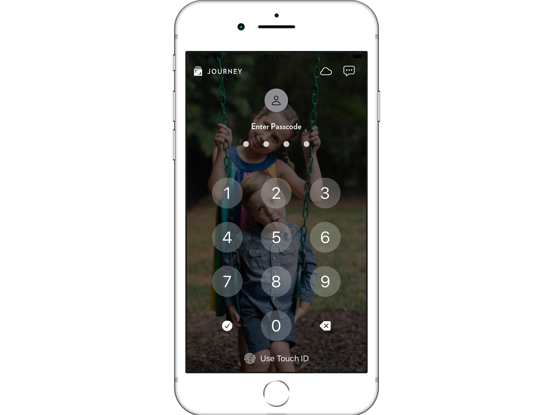 Journey's passcode and Touch ID security feature on Apple iPhone