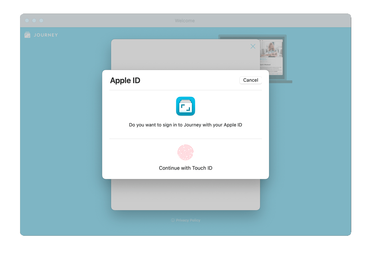 Sign in to Journey using Apple ID with Touch ID.