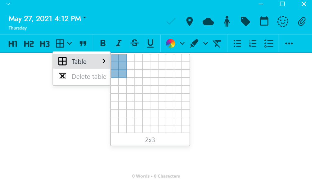 How to add a table to your mood journal entry on Journey