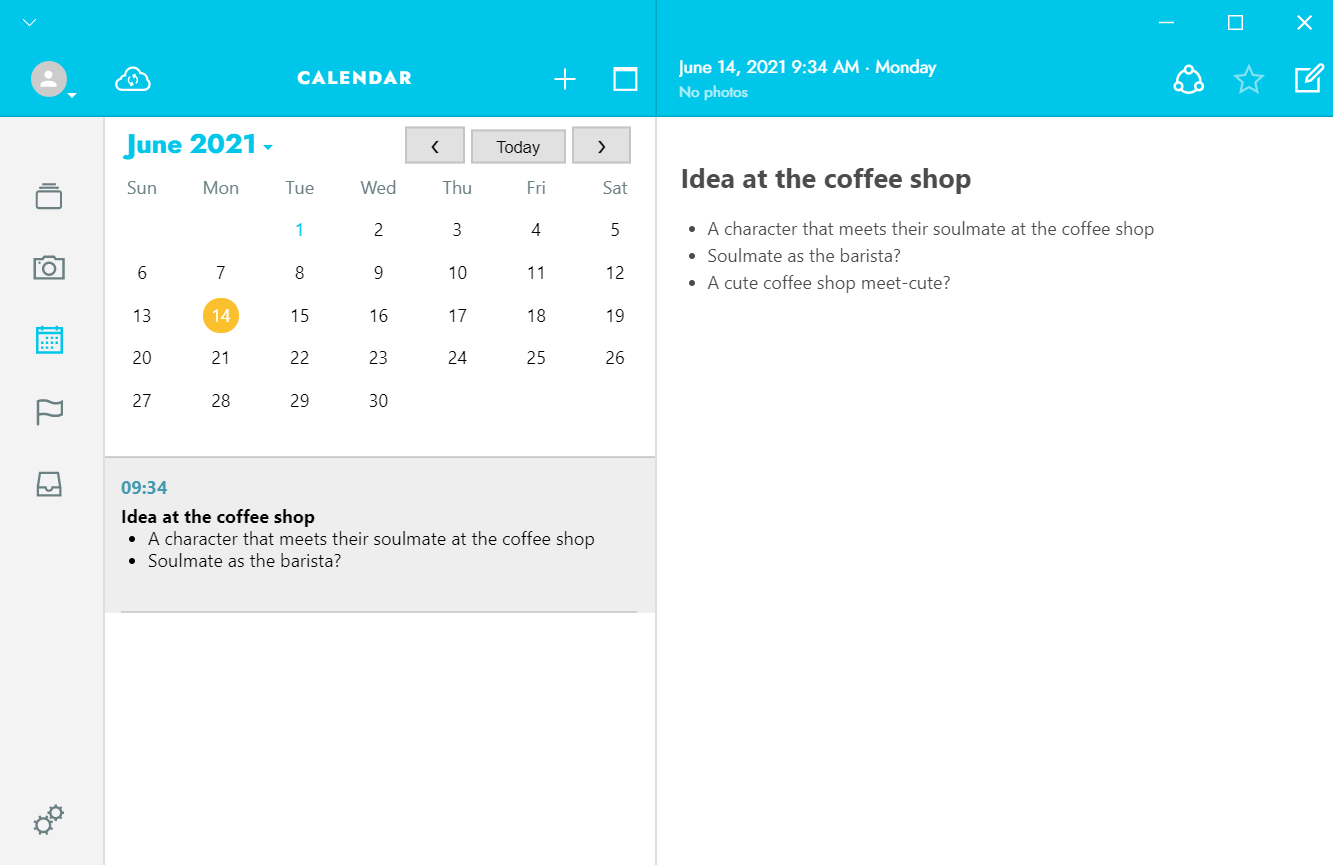 How Journey can keep your creative journal entries organized with the Calendar function
