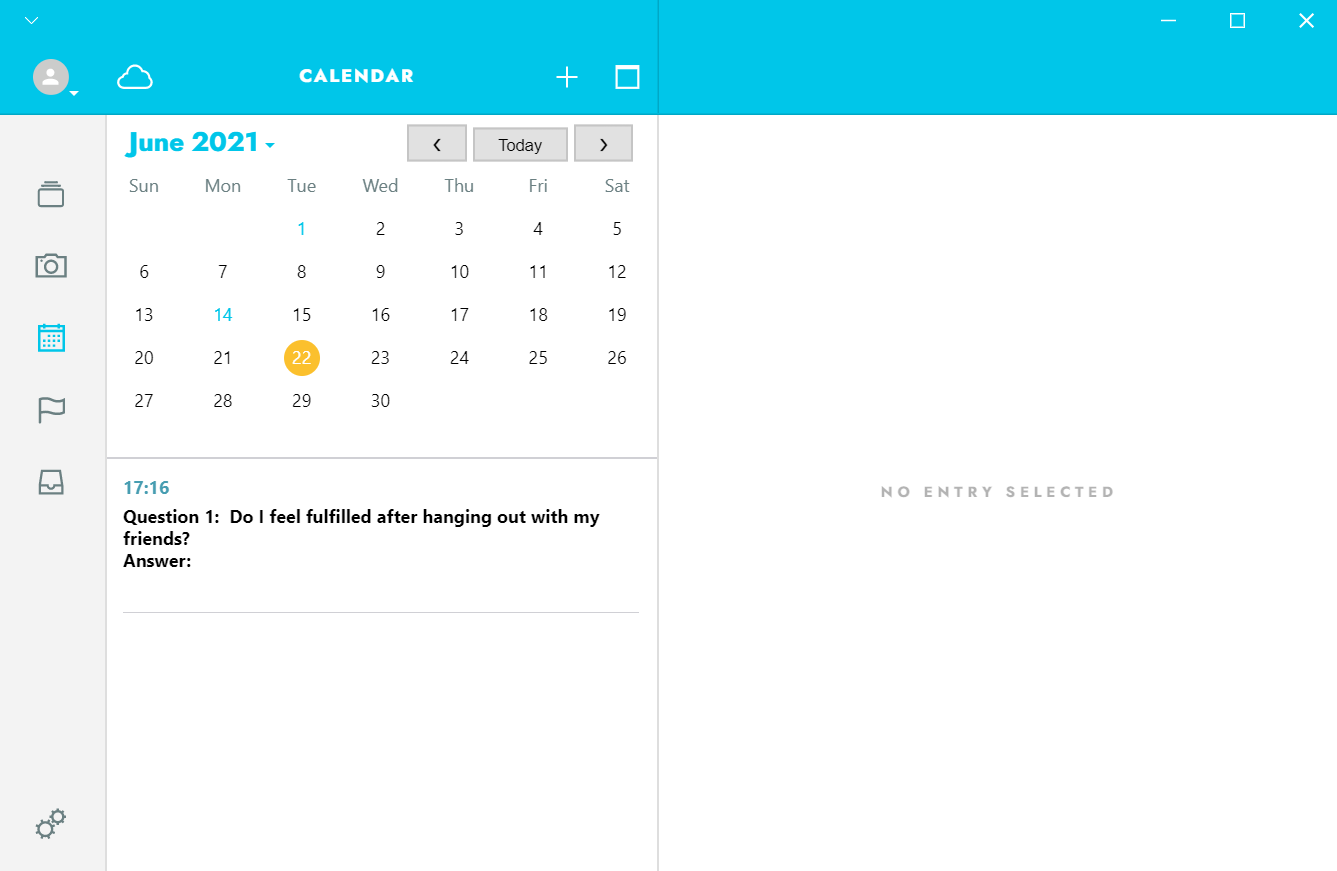 How you can ask yourself deep journal questions in a Journey entry using the Calendar function