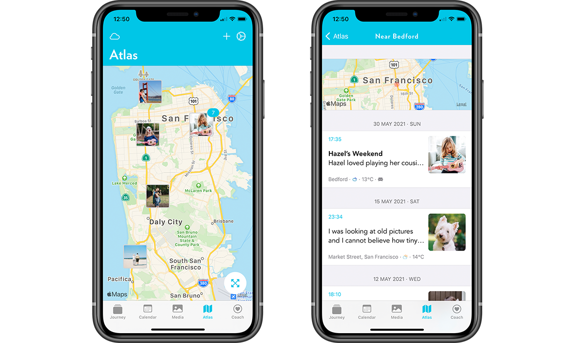 Journey's Atlas feature allows you to tag locations to your journal entries and photos