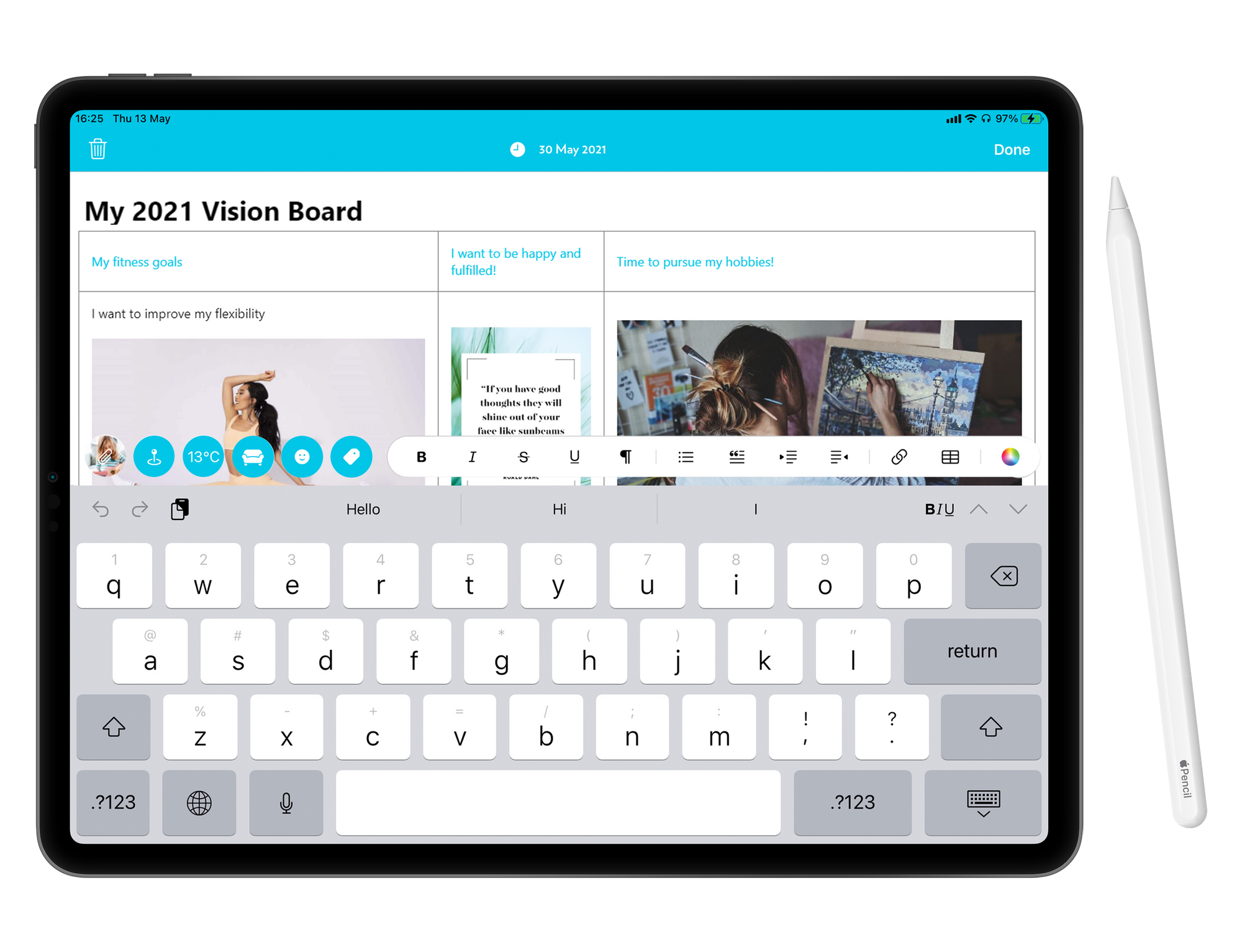 How you can create a vision board on Journey using an Apple pencil and the table function