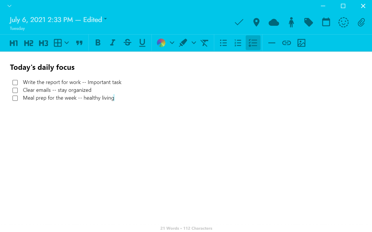 An example of how you can write your daily focus on Journey's desktop app