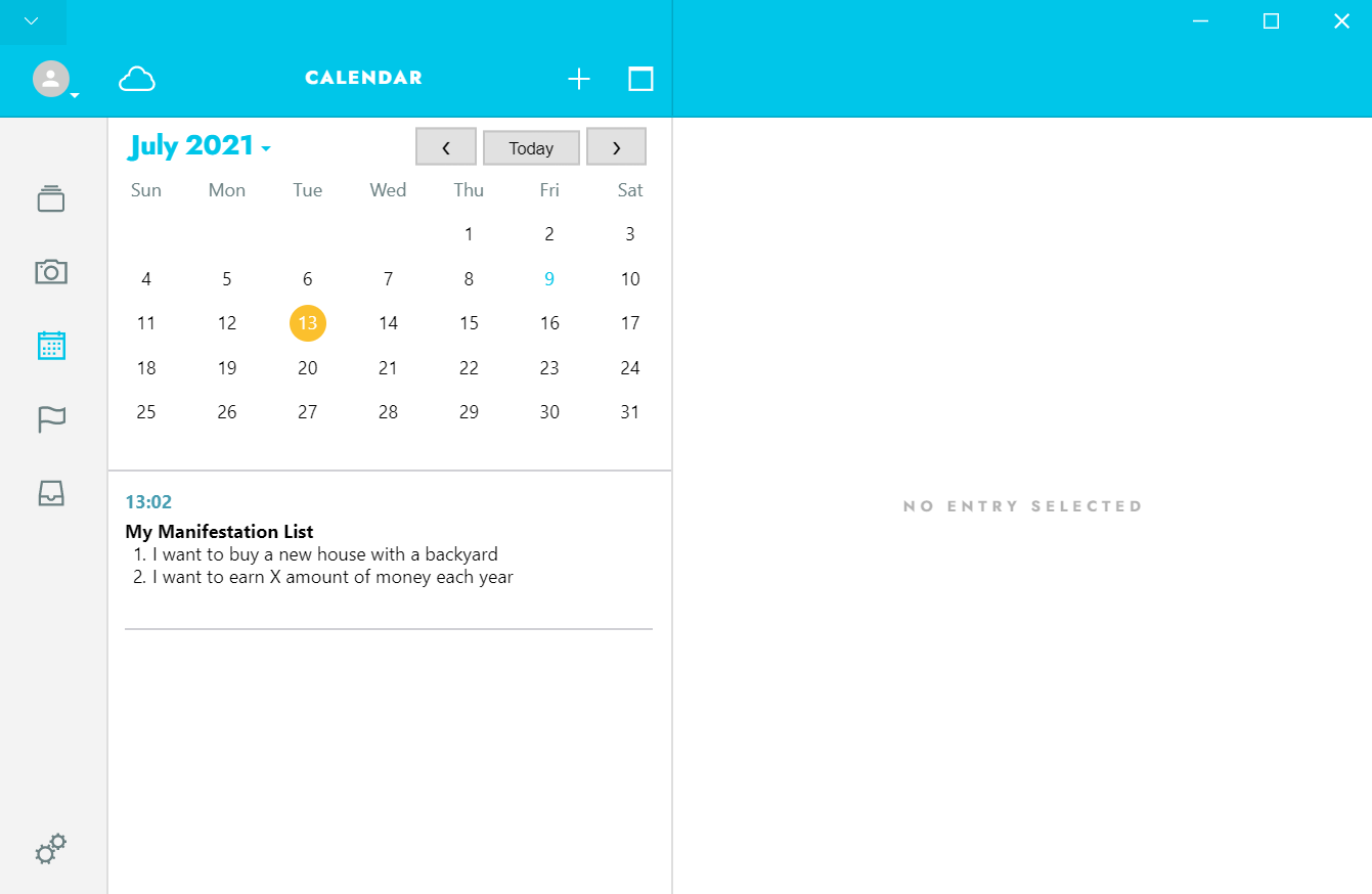 How you can locate a specific entry by tapping on the creation date on Journey's Calendar