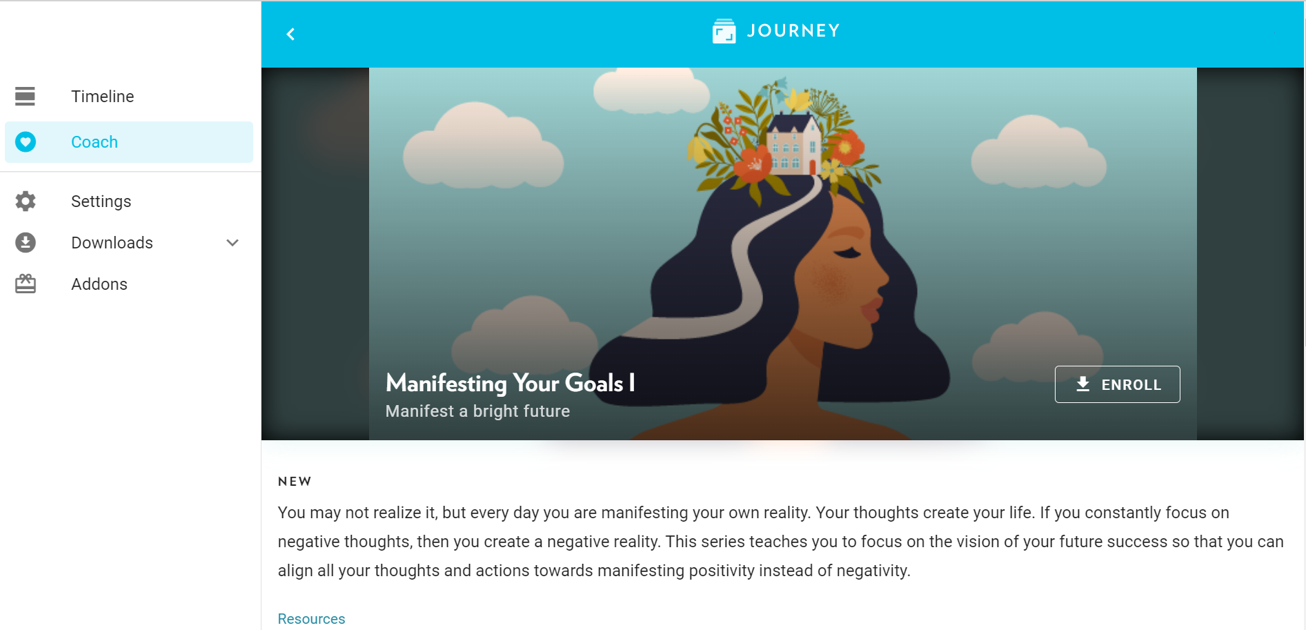 Journey's new Coach Program on manifesting your goals