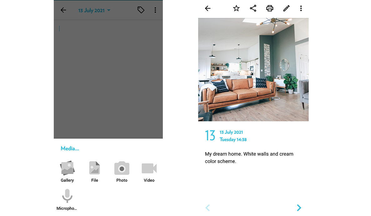 Add media like photos, videos and audio into your journal entries in Journey