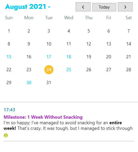 Track your journey and celebrate your successes using Journey's Calendar feature
