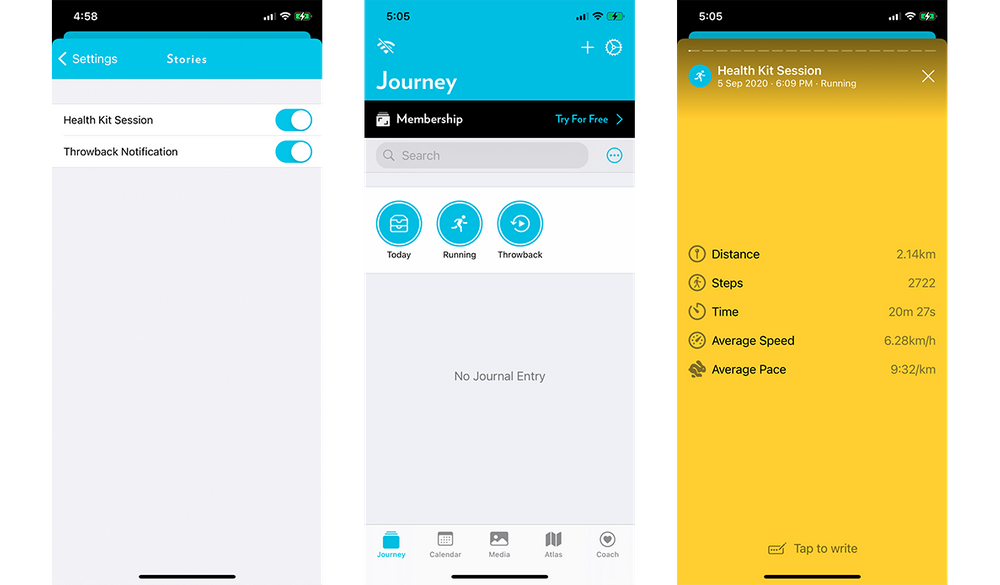 Track your fitness habits on Journey