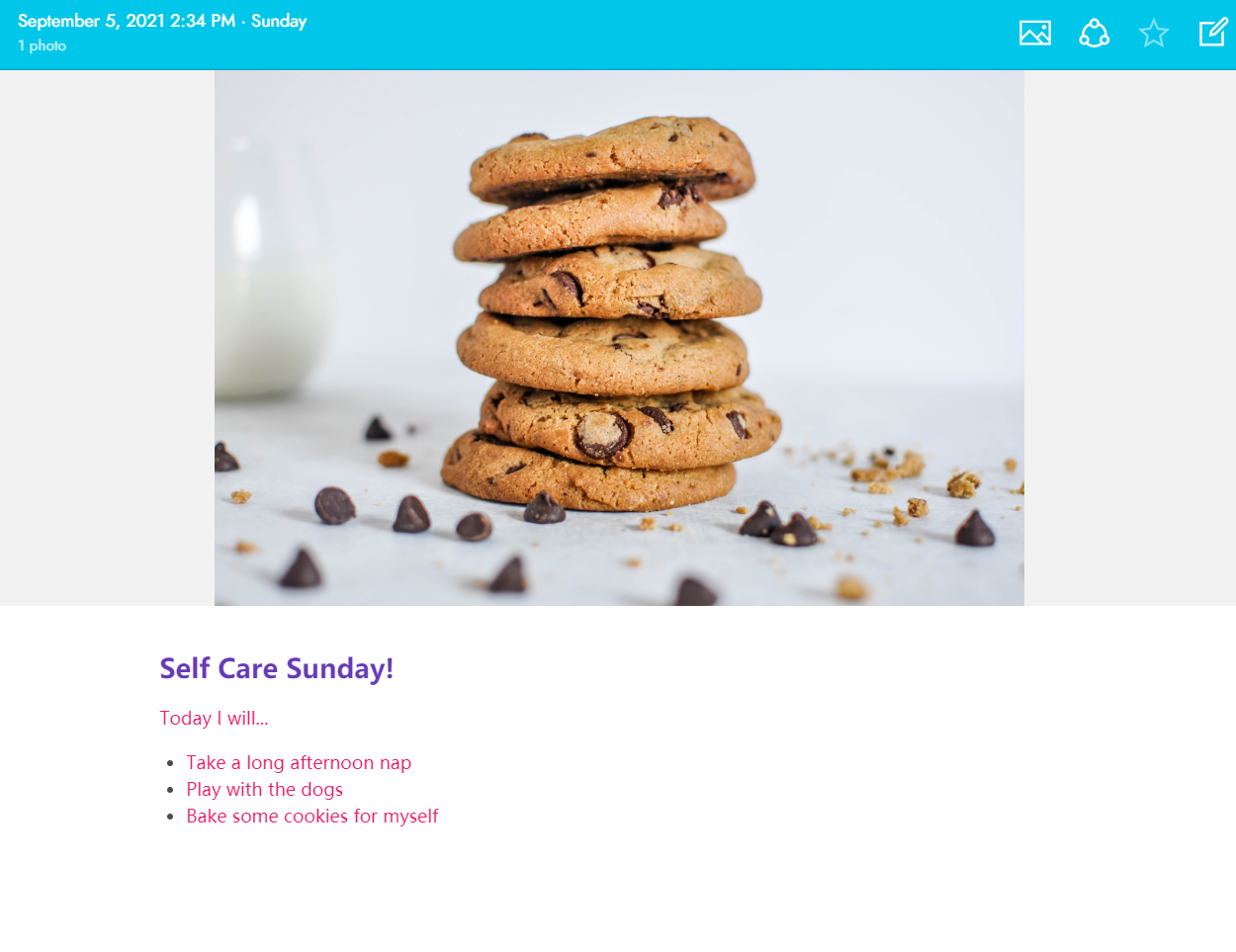 Create fun, dynamic and colorful journal entries for Self Care Sunday using Journey